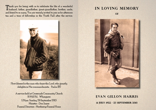 Evan Harris funeral sheet cover spread